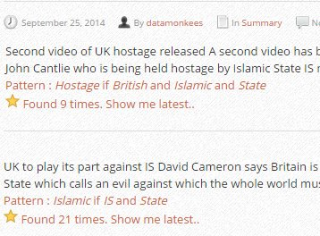 News pattern: Hostage if British and Islamic and State